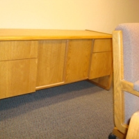 Oak Desk with matching crdenza and chairs